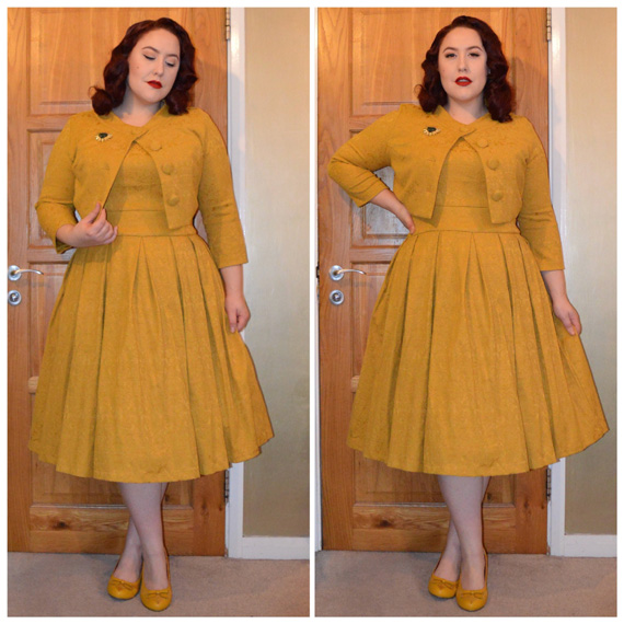 Mustard Marianne dress & jacket set by Lindy Bop, vintage brooch, yellow Jolie Bettie Page Shoes heels