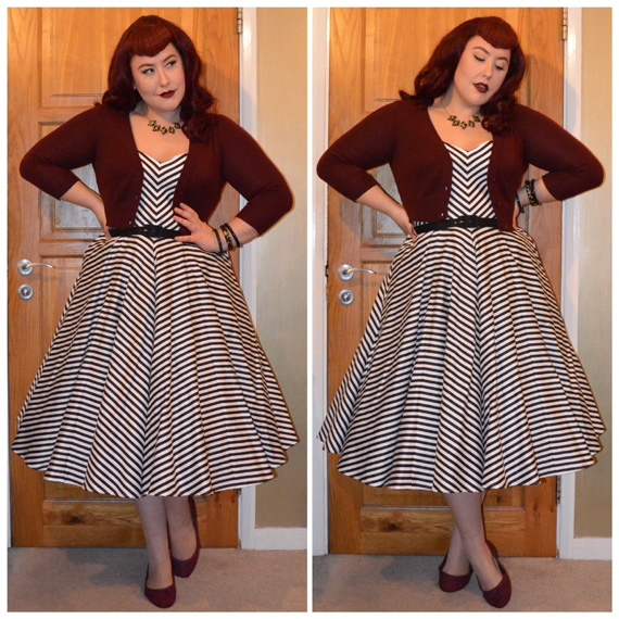 Black & White Striped Dollface dress by Vixen by Micheline Pitt (bought from DMU), Bow & Crossbones necklace and confetti Grace bangle, Splendette black fakelite bangles, Burgundy Tootsie Crop Cardigan from DMU, old New Look burgundy flats, Classy Rebel Deluxe clip in Bettie Bangs