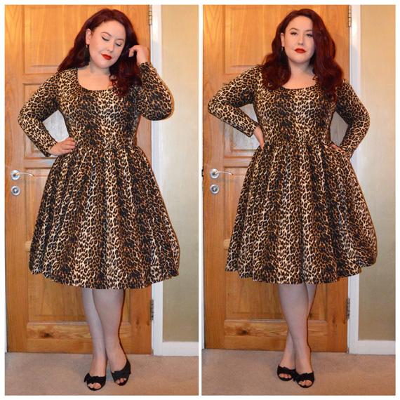 Leopard Troublemaker Swing dress by Vixen by Micheline Pitt (bought from Deadly is the Female,) Black Joyce heels by Lindy Bop