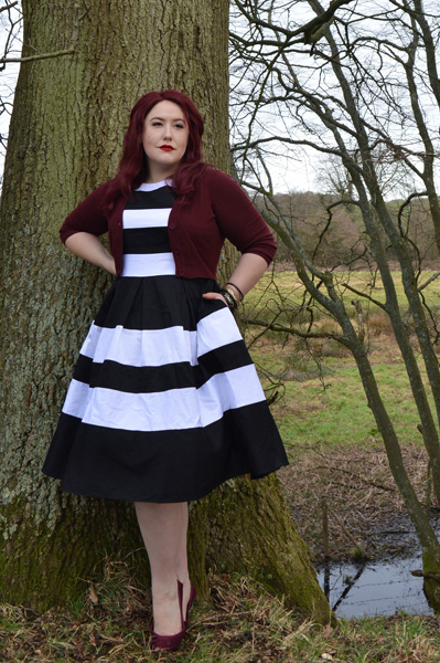 Dolly & Dotty Aurora black and white two toned stripe dress plus size