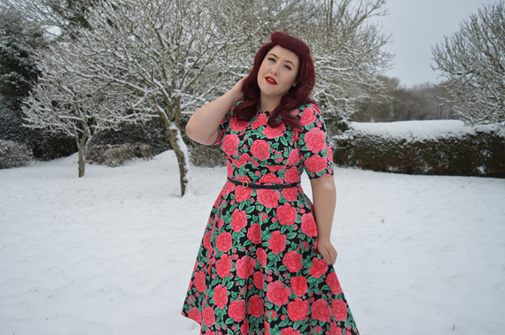 Darcy 50s rose print dress Hell Bunny Miss Amy May SS18