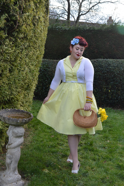 Lindy Bop Matilda Lemon Yellow Cotton Shirt dress