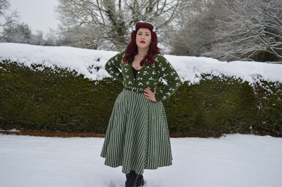 Collectif Clothing Vintage Rosie olive striped flared swing skirt Miss Amy May