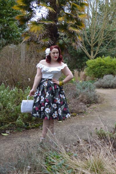Hell Bunny Tahiti skirt Rio peasant top honey ryder wicker bag Miss Amy May