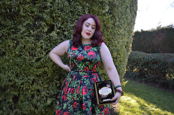 Annie Rose Thorns Floral Retro Dress in Black Dolly & Dotty plus size Miss Amy May