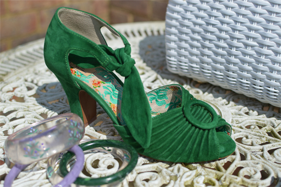 Miss L Fire Suede green Loretta peeptoe heel sandals Miss Amy May