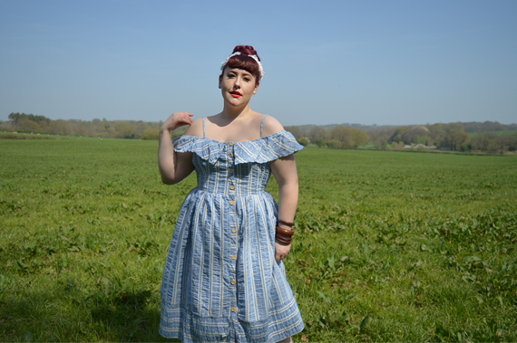 Harriet bardot stripe sun dress blue Joanie Clothing plus size Miss Amy May