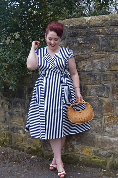 Joice Striped swing dress Collectif Vintage Luiza heels Lulu Hun Miss Amy May