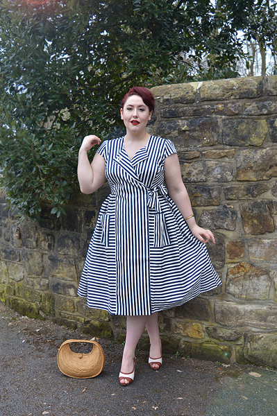 Joice Striped swing dress Collectif Vintage Luiza heels Lulu Hun Miss Amy May