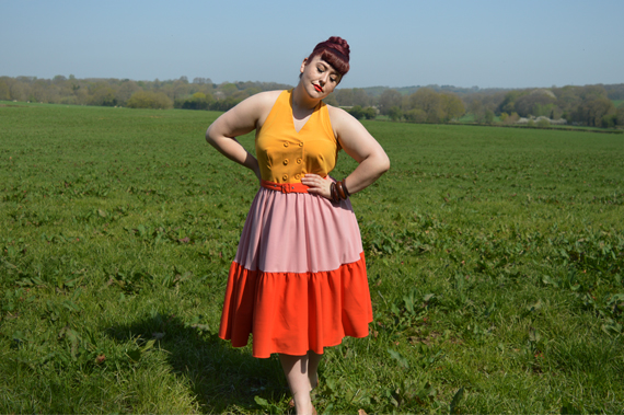 Miss Candyfloss Lorena Sun colour block dress Miss Amy May