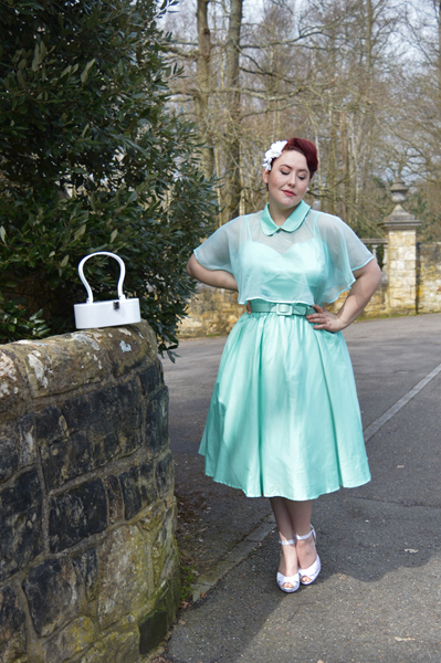 Unique Vintage 1940s Style Mint Brushed Cotton Luna Swing Dress & Mesh Capelet plus size Miss Amy May