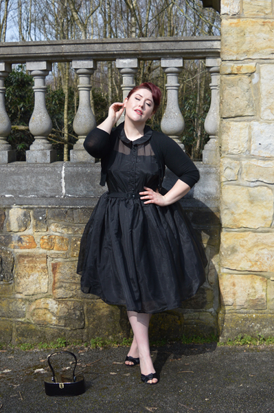Unique Vintage Black sheer organza overlay Georgia swing dress plus size Miss Amy May
