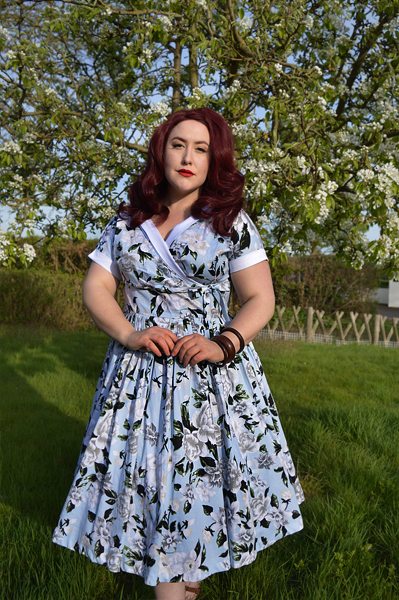 Plus Size Unique Vintage 1950s Style Light Blue & White Floral Print Pleated Waldorf Swing Dress Miss amy May