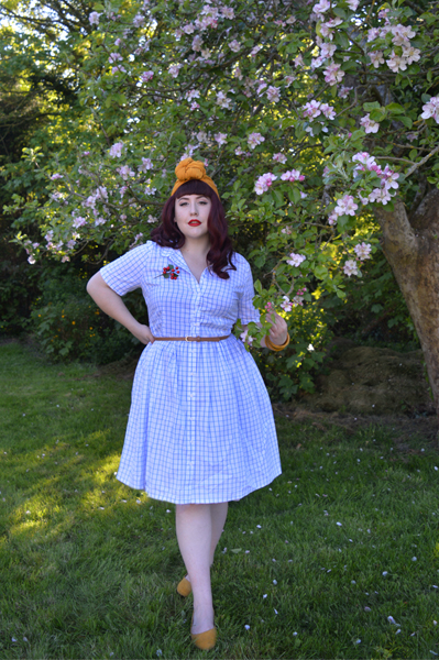 Blue Thelma Check dress Joanie Clothing Miss Amy May plus size