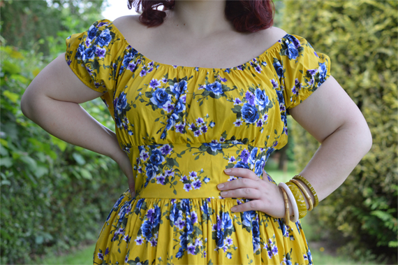 Doll Me Up Yellow floral Peachy Keen Peasant dress plus size Miss Amy May