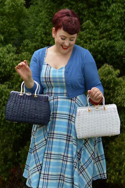 Hell Bunny Reproduction Wicker straw style Honey Ryder Handbag navy blue white Miss Amy May Discount Code AMYMAY20!%