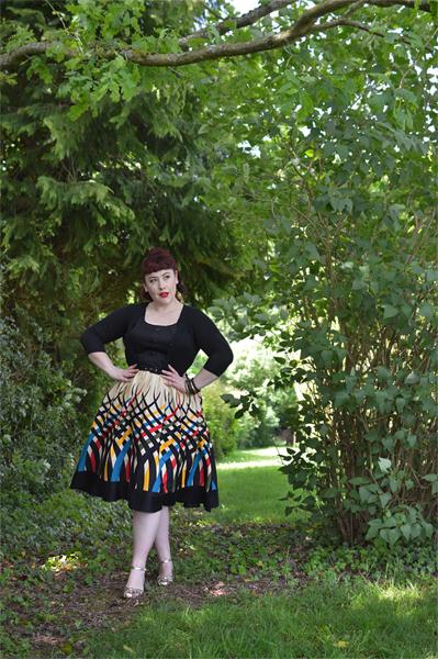 Voodoo Vixen Plus Size Curve Jean border print flared dress Miss Amy May