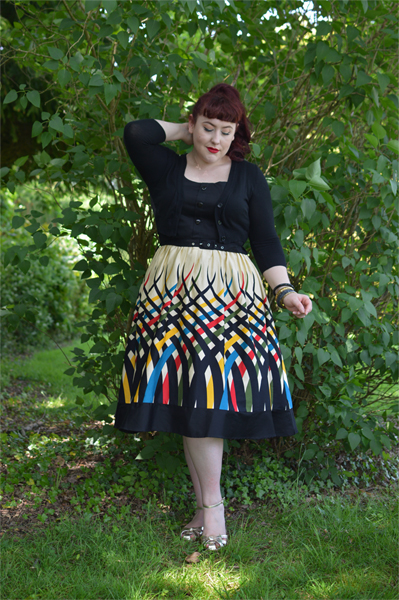Voodoo Vixen Plus Size Curve Jean border print flared dress Miss Amy May