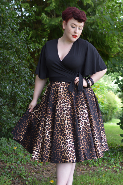 Hell Bunny Panthera 50s leopard swing skirt Uma leopard peasant top Miss Amy May plus size discount code AMYMAY20!%