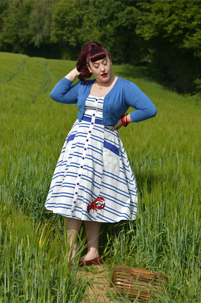 Collectif Sandrine Lobster Stripe dress nautical Miss Amy May plus size pinup