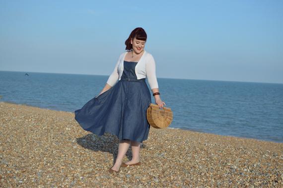 eShakti cotton chambray belted shirt dress referral code AMYHARMAN Miss Amy May plus size custom