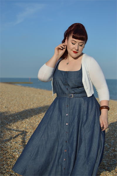 eShakti cotton chambray belted shirt dress referral code AMYHARMAN Miss Amy May plus size custom