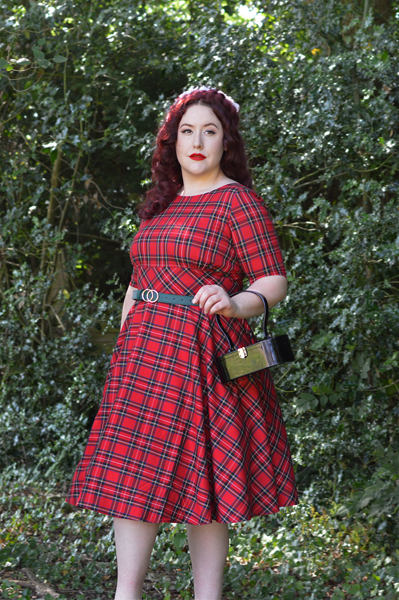 Red Tartan Irvine 50s dress Hell Bunny discount code AMYMAY20!% plus size pinup Miss Amy May