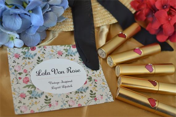 Lola Von Rose vegan cruelty free made in USA vintage liquid lipsticks gold Miss Amy May