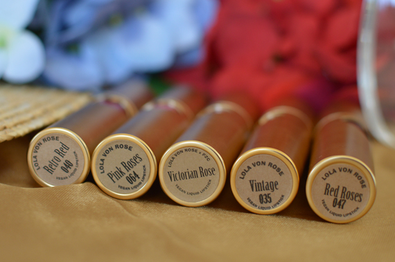 Lola Von Rose vegan cruelty free made in USA vintage liquid lipsticks gold Miss Amy May review