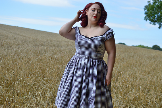 Black gingham Brigitte Bardot dress Vixen by Micheline Pitt limited edition plus size Deadly is the Female Miss Amy May