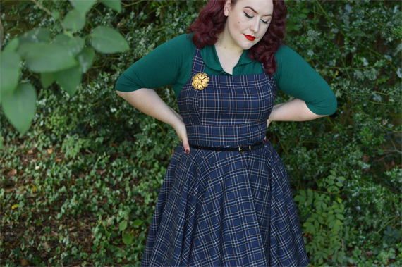 Navy Peebles Pinafore dress by Hell Bunny discount code Amymay20!% Miss Amy May plus size pinup size fit review