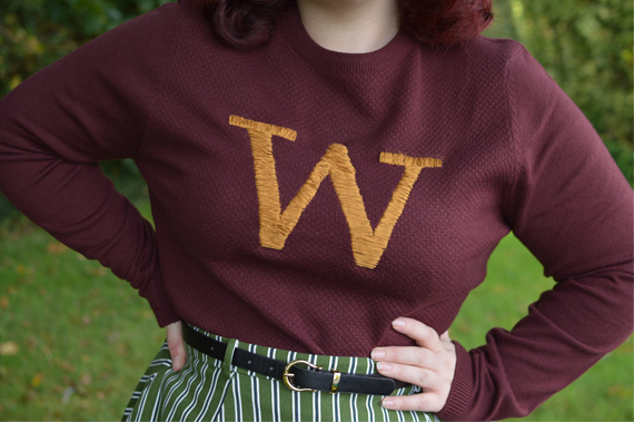 DIY craft project how to make a Weasley Sweater Jumper knitted embroidery Gryffindor Ron pinup Miss Amy May handmade me made self made