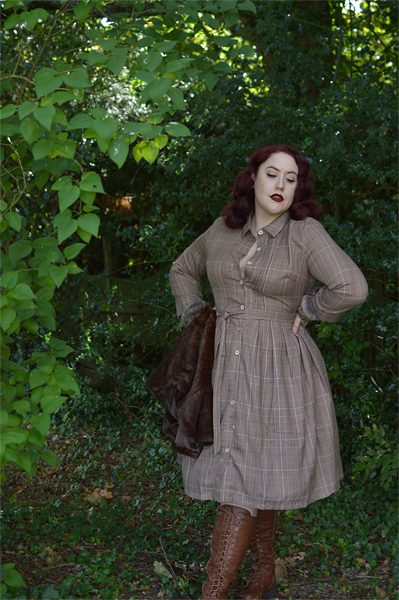 Lindybop Charlotte rustic check shirt dress Miss Amy May size fit review plus size pinup