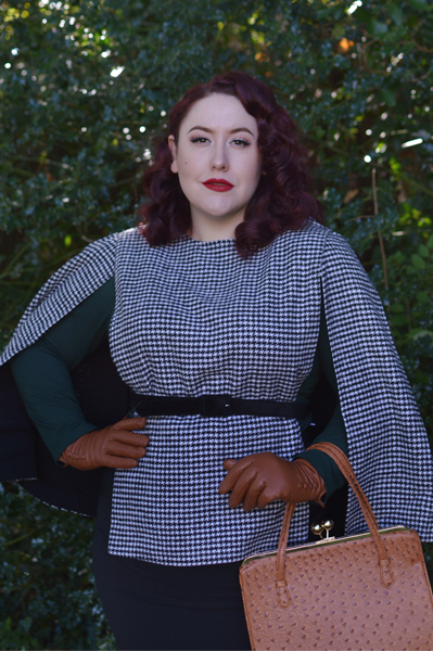 Josephine Houndstooth Cape Voodoo Vixen Iris 1940s Tan Ostrich Effect bag review Miss Amy May plus size pinup