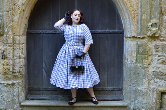 5f8b975a6273 Unique Vintage plus size pinup 1940s 1950s dinner party style grey white  plaid sleeved sally swing