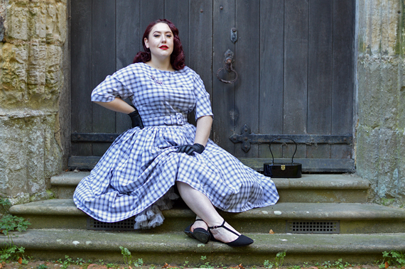 9290d0284b65 ... Unique Vintage plus size pinup 1940s 1950s dinner party style grey  white plaid sleeved sally swing ...