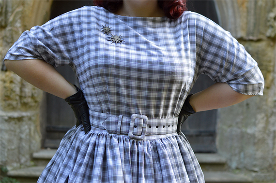 Unique Vintage plus size pinup 1940s 1950s dinner party style grey white plaid sleeved sally swing dress Mad Men Miss Amy May