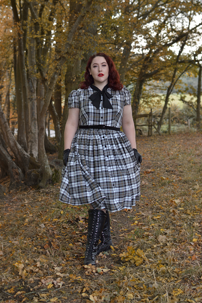 Unique Vintage plus size green hooded Stevie cape Grey Plaid button up 1950s dress pussybow neck tie Miss Amy May