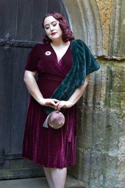 Joanie Clothing Harley Velvet Wrap dress Cabernet plus size pinup 1940s Miss Amy May fit review size