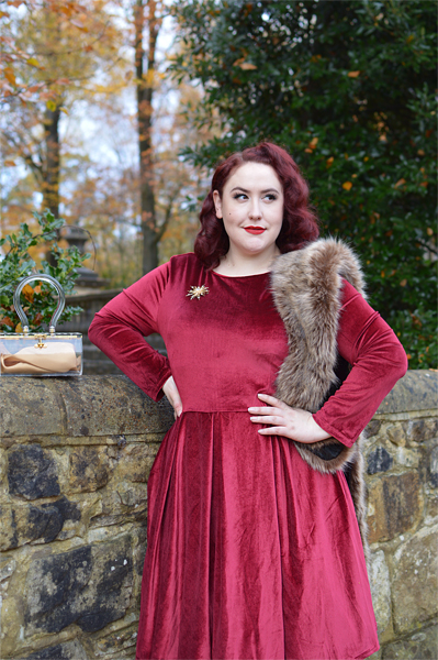 Burgundy Holly Velvet swing dress by Dolly & Dotty Miss Amy May giveaway win a dress of your choice plus size