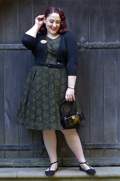 Sophia Vintage Inspired Leaf Dress curve plus size range Voodoo Vixen pinup Miss Amy May