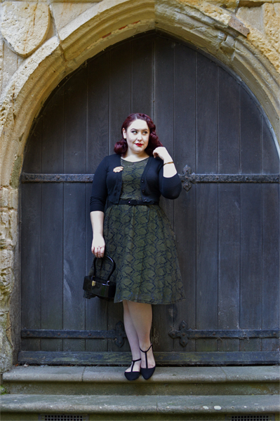 Sophia Vintage Inspired Leaf Dress curve plus size range Voodoo Vixen pinup Miss Amy May
