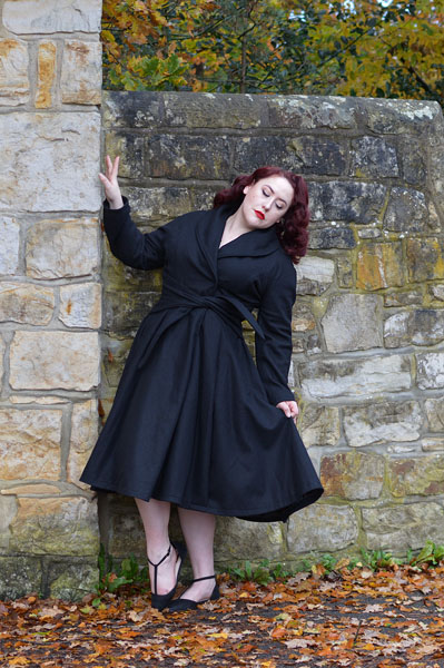 Love UR Look black belt swing coat ethically made woman owned plus size pinup Miss Amy May