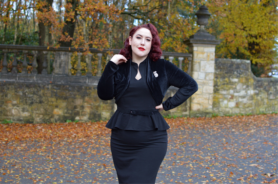 40s Lana Peplum Dress in Black Stretch Crepe by The House of Foxy Miss Amy May plus size curvy pinup Made in Britain