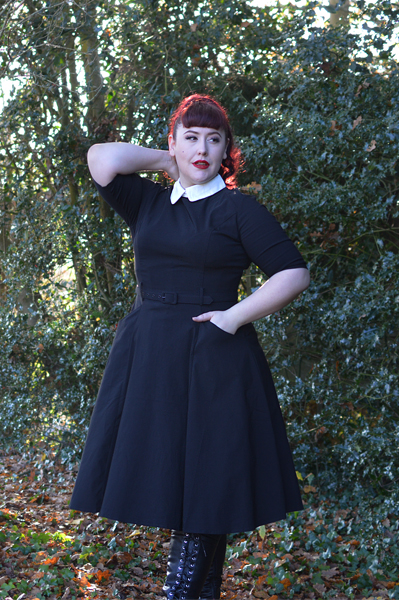 Collectif Clothing Black Winona swing dress size fit review Miss Amy May plus pinup