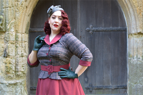Miss Candyfloss Ambre-wine peplum burgundy dress Amour Fou New Look Dior collection Miss Amy May plus size pinup size fit review vintage