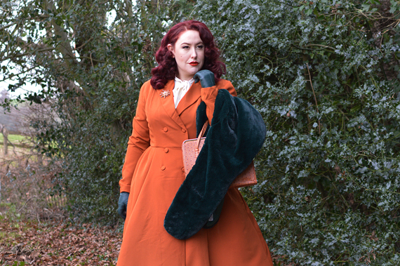 Garcelle rust coat dress Lindy Bop budget friendly plus size uk pinup Miss Amy May fit sizing review