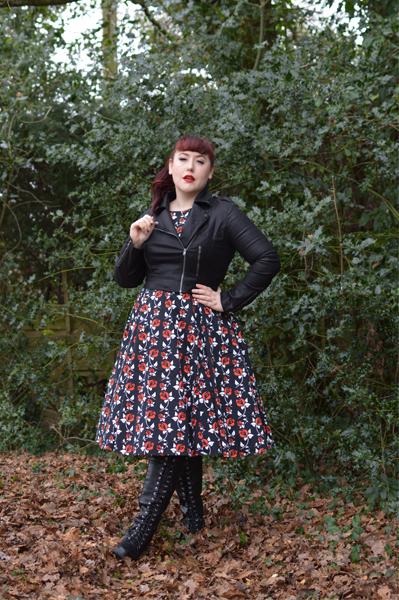 Miss Amy May plus size pinup fit review Lady V London Wonderland rose print Hepburn dress