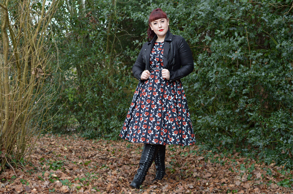 Miss Amy May plus size pinup fit review Lady V London Wonderland rose print Hepburn dress