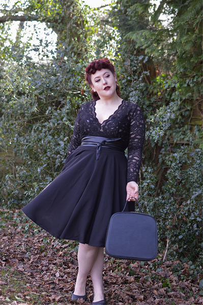 Black shirley skirt Joanie Clothing plus size pinup vintage inspired Miss Amy May fit size review